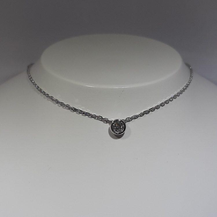 Collier Diamant solo serti clos en Or blanc 18k