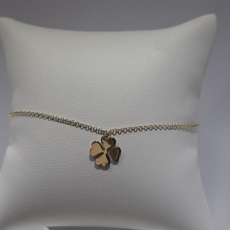 Bracelet trèfle à quatre feuilles en or jaune 18k