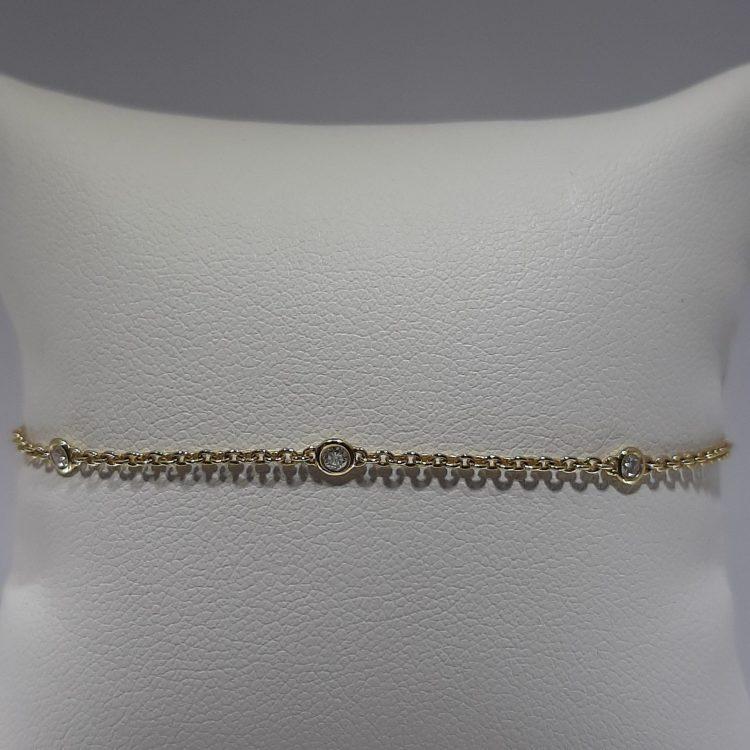 Bracelet pastillé diamants en or jaune 18k