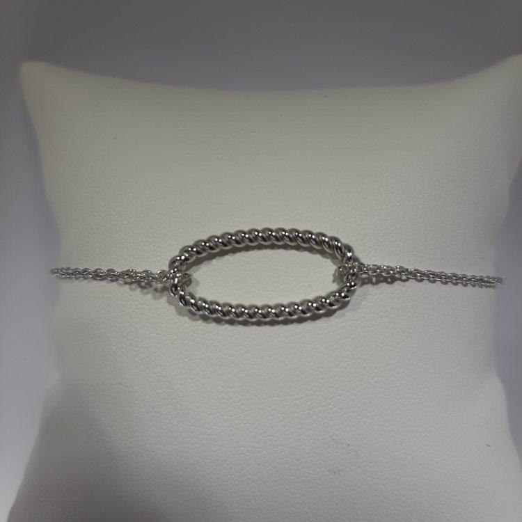 Bracelet maille ovale torsadée en or blanc 18k