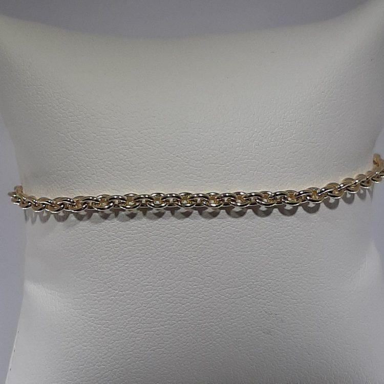 Bracelet maille forçat ronde en or jaune 18k