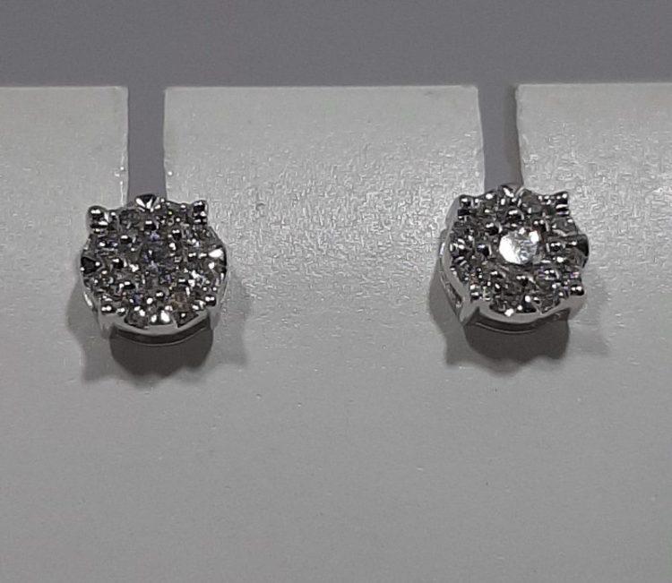 Boucle d'oreille Puces pavage diamants